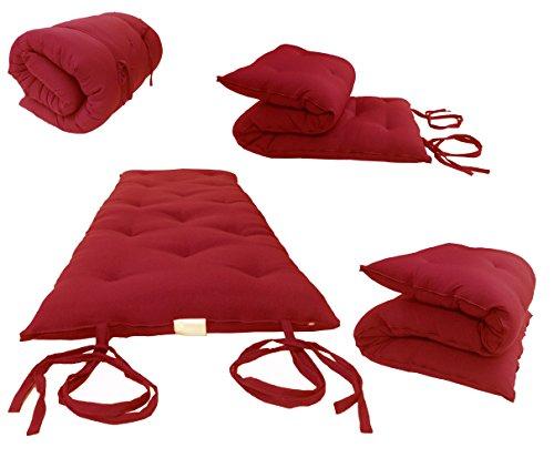 D&D Futon Furniture Traditional Japanese Floor Rolling Futon Mattresses, Thai Mats 3 x 27 x 80 (Red)