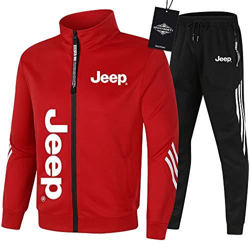 SPONYBORTY de Los Hombres Chandal Conjunto Trotar Traje jeep Hooded Zipper Chaqueta + Pantalones Sudadera Baloncesto Ropa Gimnasio /  Rojo/XXXL