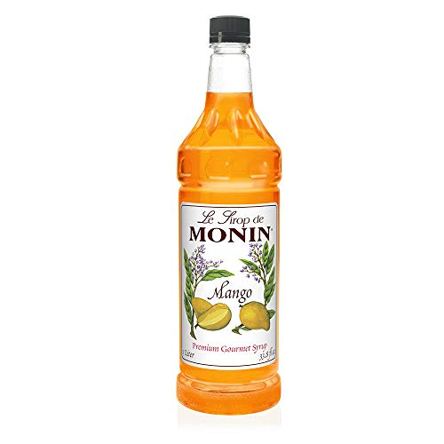 Monin - Mango Syrup, Tropical and Sweet, Great for Cocktails, Sodas, and Lemonades, Gluten-Free, Vegan, Non-GMO (1 Liter)