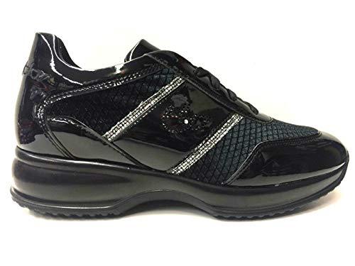 Byblos Scarpe Sneakers Casual Donna 698043 Nero Pelle Shoes AI Nuovo