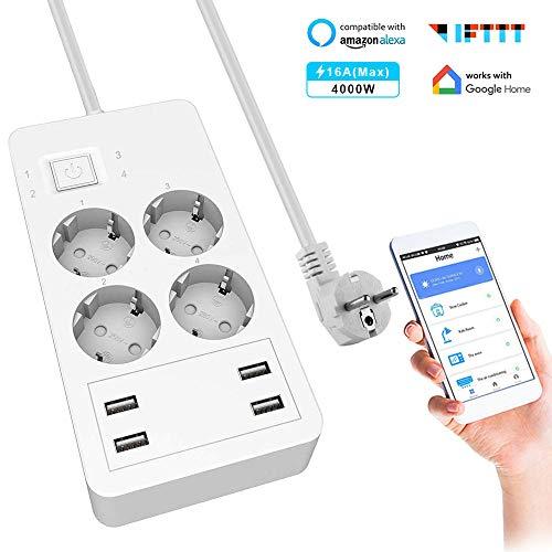 Smart Steckdosenleiste, Wlan Alexa Steckdosenleiste mit 4 AC-Ausgängen 4 USB, Überspannungsschutz Mehrfachsteckdose, Kompatibel mit Alexa Google Home und IFTTT