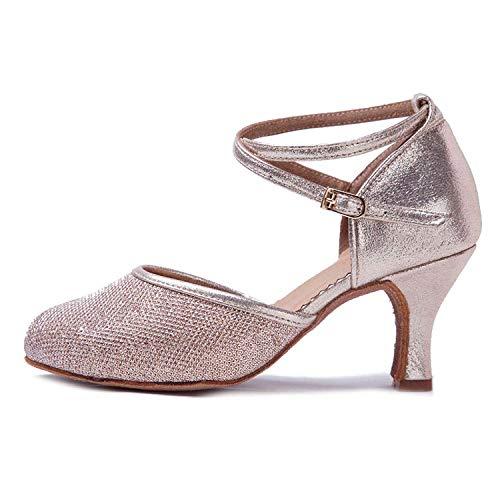 HIPPOSEUS Zapatos de Baile de Cuero sintético Brillo para Mujer con Dedos Cerrados Zapatos de Baile de práctica Zapatos de Baile de Boda estándar, Modelo WX-CL,Dorado Champagne Color,EU 39/6.5 UK