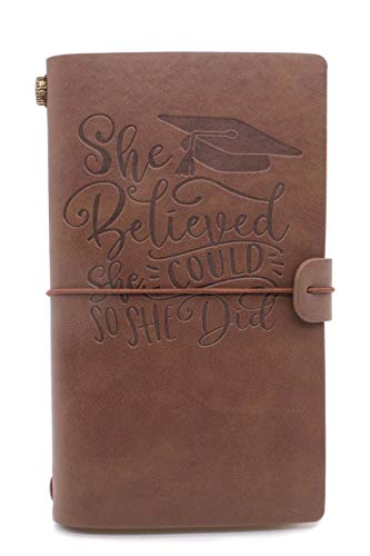 Leather Journal – 2021 Graduation Journal, She Believed She Could So She Did, Gifts for Friends, Niece, Daughter, Cousins, Sisters – 1 Set(JNL-R-GRAD002)