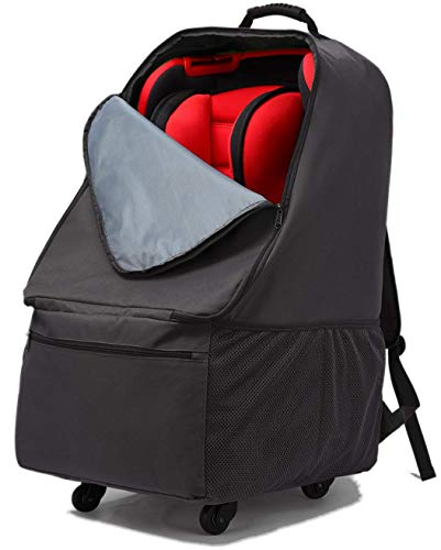 Car Seat Bag with Wheels, Baby Car Seat Travel Carseat Cover Backpack Bag, Infant Carriers Booster Cover Protector for Air Travel (Black)