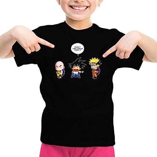 T-Shirt Enfant Fille Noir Naruto - Dragon Ball parodique Sangoku et Naruto : Tortue Ninja !? (Parodie Naruto - Dragon Ball)