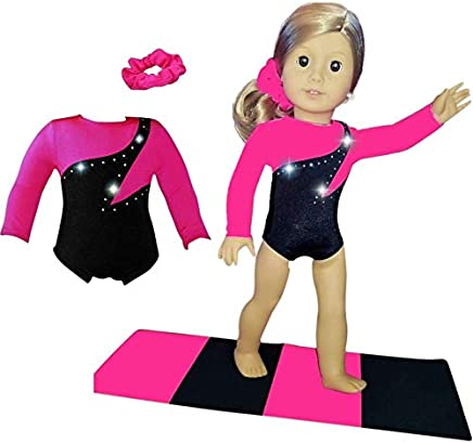 Doll Connections VALENTINES DAY Gymnastics Leotard Outfit Compatible with American Girl of the Year 2019 Blaire Wilson Doll Accessories and Our Generation - 18 inch Doll Clothes (3 Pieces in All)
