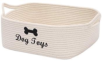 Xbopetda Panier de rangement en corde en coton pour chien Jouet pour animal domestique Panier de rangement pour chien Cube organiseur pour placard, petits jouets