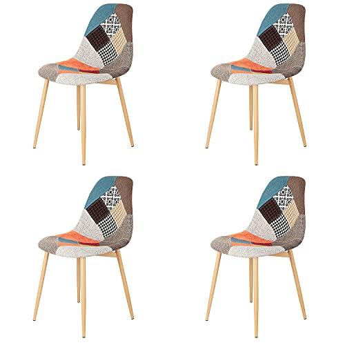 Injoy Life - Juego de 4 sillas de comedor de tela de retazos de moda, sillas de cocina, sillas de ocio con patas de metal, para salón, dormitorio, recepción, color rojo
