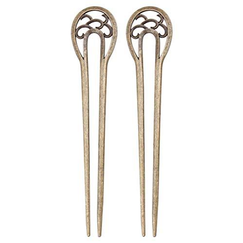 Lurrose 2pcs bronze d'épingles à cheveux en forme de U Vintage Fourche à cheveux bâtons pour cheveux longs (Bronze)
