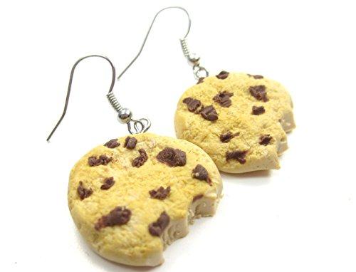 Angebissene Schoko Keks Ohrringe handmade Plätzchen Gebäck Ohrhänger