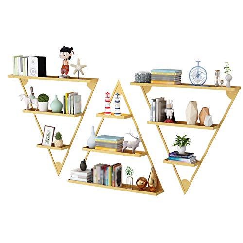 hongbanlemp Boekenkast 3-laags driehoekig zwevende boekenplank, metalen zware wandmontage opbergrek, woonkamer en slaapkamer displayrekken (goud/zwart) desktop boekenplank (Kleur: goud)