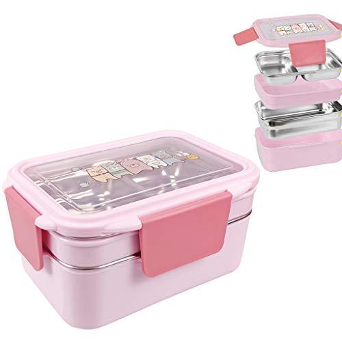 Lunch Box Bento Boîte,Deux niveaux enfants boîte à lunch boîte à bento boîtes de rangement en acier inoxydable contenant des aliments avec cuillère pour enfants enfants adultes bureau école de camping