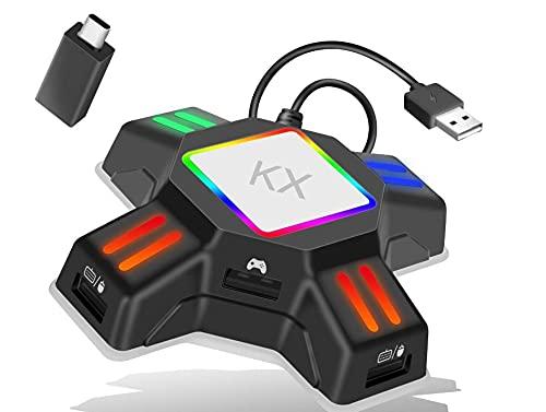 UIOJH Adapter Spielgriff auf Tastatur und Mauscontrollerzubehör,geeignet für Switch/Xbox/PS4/PS3,Gamepad Controller Zubehör,Host-Tastatur- und -Mauskonverter
