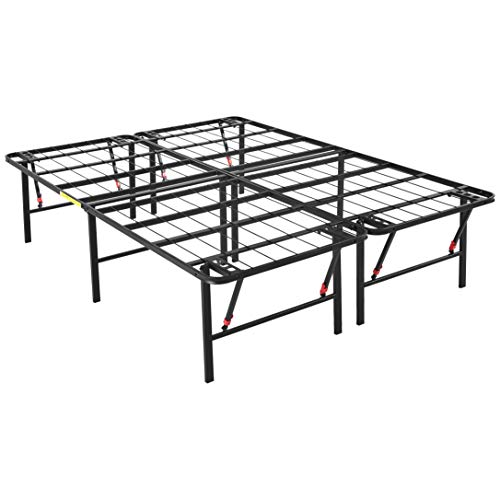 AmazonBasics Foldable Metal Platform Bed Frame 18 Inch Height for Under-Bed Storage - Tools-free Assembly, No Box Spring Needed - Queen