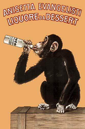 Anisetta Evangelisti Liquore Da Dessert Vintage 1925 Italian Advertising Monkey Poster 12x18 inch