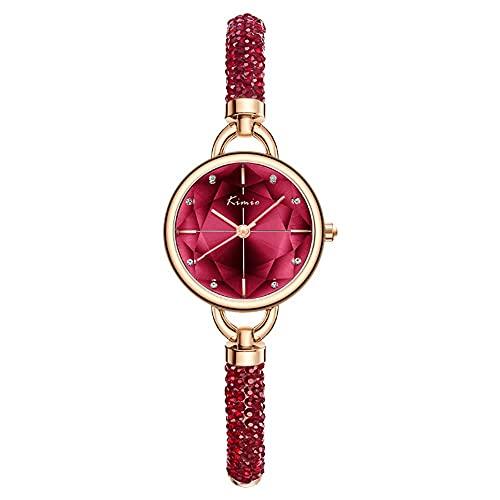 YIXINHUI Reloj de Cuarzo Mujer Personalidad Personalidad pequeña Esfera Creativa Correa de Cuarzo Reloj de Cuarzo Casual Temperamento Rhinestone Scale Moda Pulsera Reloj (Color : Red)