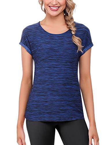 iClosam Camisetas Deporte Mujer Fitness Cuello Redondo BáSi