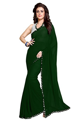 Sourbh Women's New Dark Green Traditional Plastic Mirror Lace Border Georgette Saree with Blouse Piece