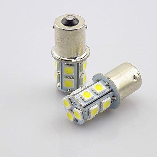 TMT LEDS(TM) Lot de 2 ampoules LED BA15S 1156 P21W avec 13 LED SMD 5050 Blanc Feux de recul, de position, de frein, clignotants, anti-brouillard pour voiture moto