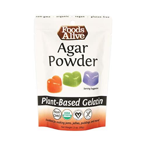Foods Alive Agar Agar Powder | Pure Agar Powder For Unflavored Gelatin, 100% Organic, Non-GMO, Gluten Free and Kosher, Vegan Gelatin Powder, 2oz