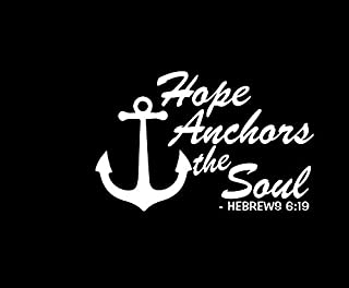 Hope Anchors The Soul Hebrews Verse NOK Decal Vinyl Sticker |Cars Trucks Vans Walls Laptop|White|5.5 x 4.0 in|NOK845