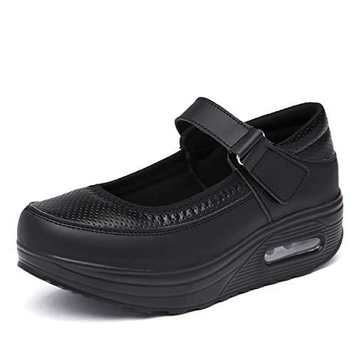 [Sunlane] レディース ナースシューズ スニーカー 厚底 ダイエットシューズ 安全靴 ナースシューズ 看護師 介護士 通気性 柔軟性 通気 エアクッション付き お母さん 婦人靴 軽量 スボーツスニーカー ブラック 24.0cm