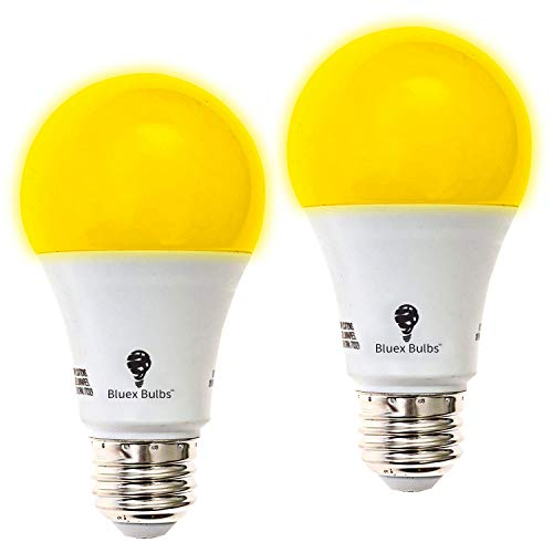 2-Pack BlueX A19 Amber Yellow LED Bug Light Bulb No Blue Light Outdoor 650 Lumens 120V E26 Medium Base LED 9.5 - Watt (60-watt Replacement) A19 Outdoor Bug LED Warm Light Bulb