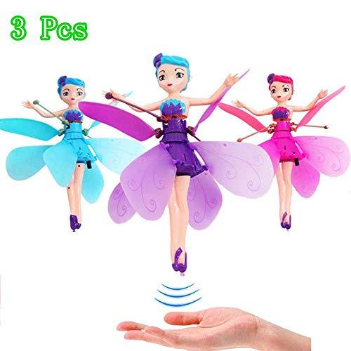 HHY-B 3 Piezas Muñeca de Hada Voladora, Magic Electronic Infrarrojo Control de inducción Princess Dolls Toy