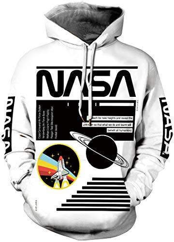EUDOLAH Felpe da Uomo/Ragazzo/Coppia con Cappuccio e stampa 3D NASA Astronaut e Tasca e Manica Lunga Primavera(A-NASA-Lavagna,S)