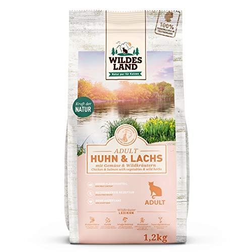 Wildes Land | 1,2 kg | Trockenfutter für Katzen | Huhn und Lachs | Getreidefreie Rezeptur | Hoher Fleischanteil | In Deutschland zubereitet | Hoher Eiweißanteil | Natürliche Zutaten