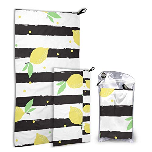 N\A Summer Lemon Yellow Fruit 2 Pack Microfiber Womens Towel Towel for Sports Set Fast Drying Best for Gym Travel Backpacking Yoga Fitnes