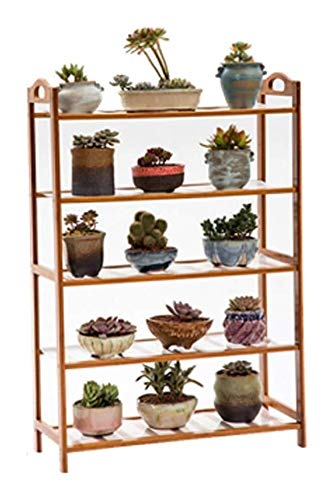 YLongFEI Bloemstandaard Bonsai Display Rack Balkon Bloempot Houder Bamboe Boekenplank Plant Vloerstandaard Kruidenrek 5 Tier Multi-Purpose Slaapkamer Woonkamer