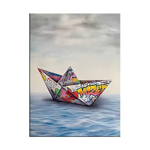 LTGBQNM Papel Origami Barco Lienzo Pintura Pintura Arte Pósteres y Impresiones Arte de la Pared Fotos para la Sala de Estar Decoración del hogar 20x28 Pulgadas Sin Marco