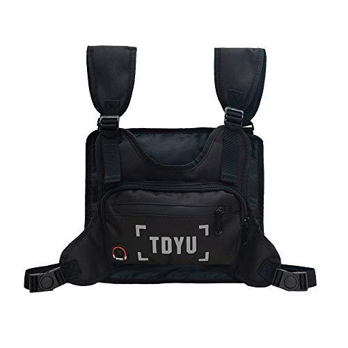 Klykon Chest Bag for Men Fashion Chest Rig Bag Pack Harness Reflective Utility Light Bags for Men Women Night Running Exercise Hiking (Black)