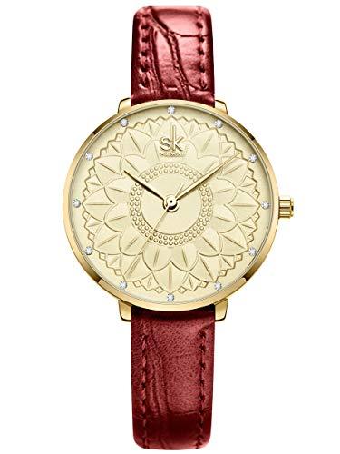 Alienwork Reloj Mujer Oro Pulsera de Cuero Rojo Strass Elegante Pequeña
