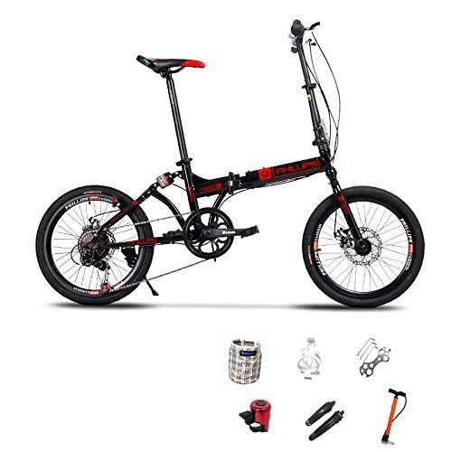 LXLTLB Klapprad Doppelscheibenbremse Unisex Kind Folding City Bike Geeignet für Höhe 140-180 cm 20 Zoll Stoßdämpfung Folding,B