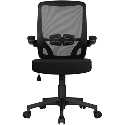 Yaheetech Executive Mesh Office Chair Swivel Desk Chair Mid Back Comfort Breathable Chair with Adjustable Armrests Black