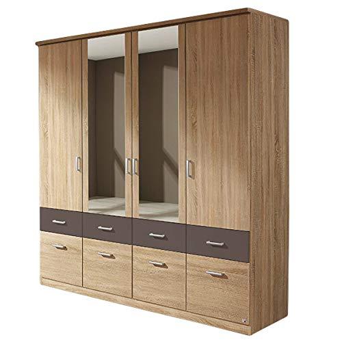 Kleiderschrank grau/weiß 4 Türen B 181 cm Eiche Sonoma Kinderzimmer Jugendzimmer Schlafzimmer Spiegel Drehtürenschrank Wäscheschrank