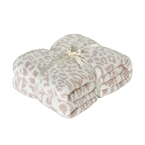 Polyester Microfiber Fluffy Leopard Knitted Throw Blanket Super Soft Cozy Lightweight Blanket for Sofa Couch Bed 51'X71' Stone /Cream??¡