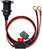 12V/24V Fixed Thread Cigarette Lighter Socket Extension Cable with Perforated Terminal, Direct Battery Type, car Cigarette Lighter Adapter. 14AWG 20A Heavy Duty Cable 10FT(Free Two Blade fuses)