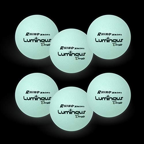 Champion Sports Premium Rhino Skin Dodgeballs with Mesh Storage Bag, Set of 6 - Glow in the Dark Playground Balls for Outdoor Games and Gym Class - Low Bounce Dodgeballs