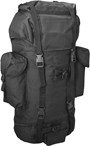 normani Rucksack, ideal zum Wandern, großes Fassungsvermögen 65 Liter, viele Taschen Farbe Schwarz