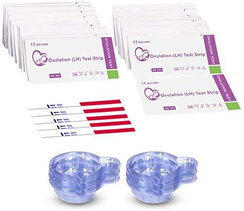 50 Pruebas de Ovulación ultrasensibles 20mIU/ml, Test Ovulación, Kits de Tests de Ovulación y Fertilidad - 50 Taza de orina