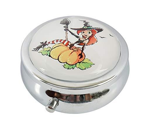 BeLian - Portapillole in Acciaio Inox e Vetro, Acciaio Inossidabile, Little Cartoon Halloween Witch on a Pumpkin Style, 2.0x2.0x0.7 in
