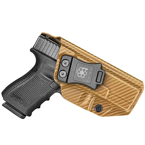 Amberide IWB KYDEX Holster Fit: Glock 19 19X 23 32 45 (Gen 1-5) Pistol | Inside Waistband | Adjustable Cant | US KYDEX Made (Coyote Brown Carbon Fiber, Left Hand Draw (IWB))