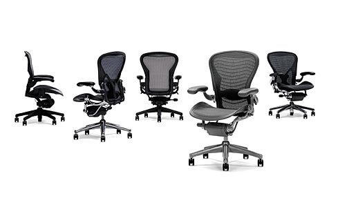 Hot Sale Aeron Chair by Herman Miller - Home Office Desk Task Chair Fully Loaded Highly Adjustable Medium Size (B) - Lumbar Back Support Cushion Graphite Frame Tuxedo Grey Black Pellicle