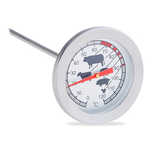 Relaxdays 10022814, Braten Grillthermometer, Edelstahl Fleischthermometer, 20 cm Einstichthermometer analog, Silber
