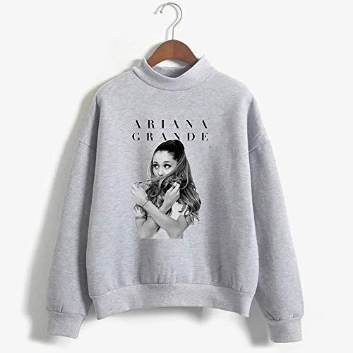 XUJIN Ariana Grande 3D-bedruckter Rundhals-Langarmpullover Mädchen Slim Fashion Sweatshirt,Gray,M