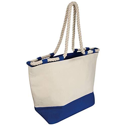 Strandtas/jute tas met koord/kleur: blauw-natuur