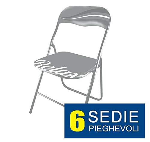 MAURY'S Set 6 Sedie Relax Imbottite Pieghevoli Salva-Spazio in Metallo Colore Grigio